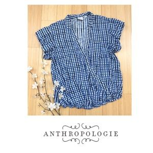 Anthropologie Tops - Anthropologie Postmark Plunge Plaid Blouse | M